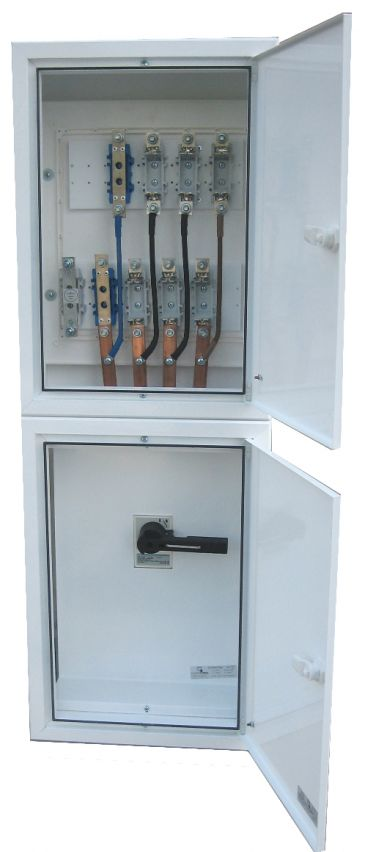 ELECTRIFIED COLUMN BOARDS WITH TWO THREE-PHASE OUTPUT WITH MAIN SWITCH 125 AMPS (WITHOUT BUSBAR)