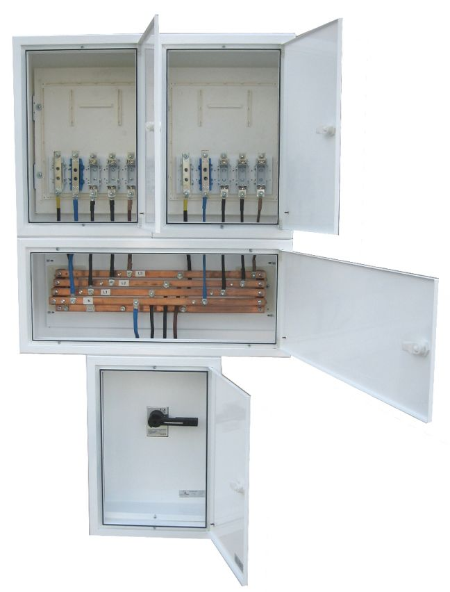 ELECTRIFIED COLUMN BOARDS WITH TWO THREE-PHASE OUTPUT WITH MAIN SWITCH 250 AMPS